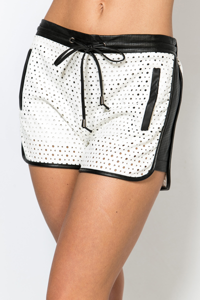 Perforated PU Shorts