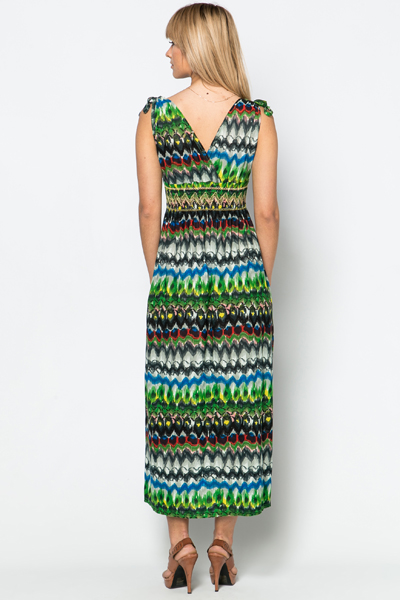 Embroidered Trim Tribal Maxi Dress