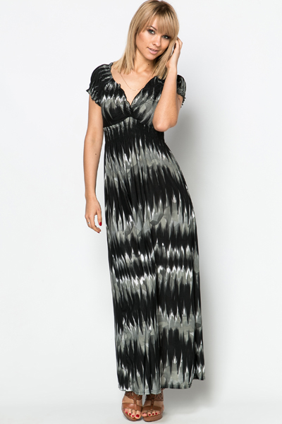 Brushed Graphic Maxi Dress