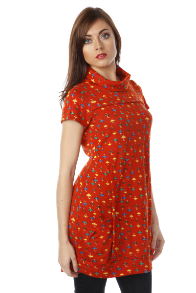 Umbrella Pattern Roll Neck Dress Top