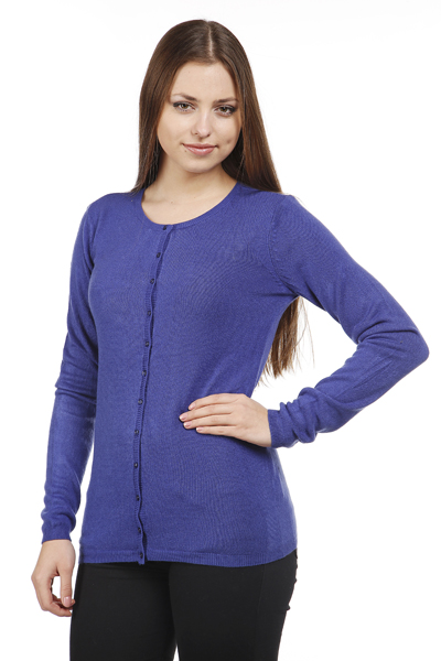 Fine Knit Round Neck Cardigan