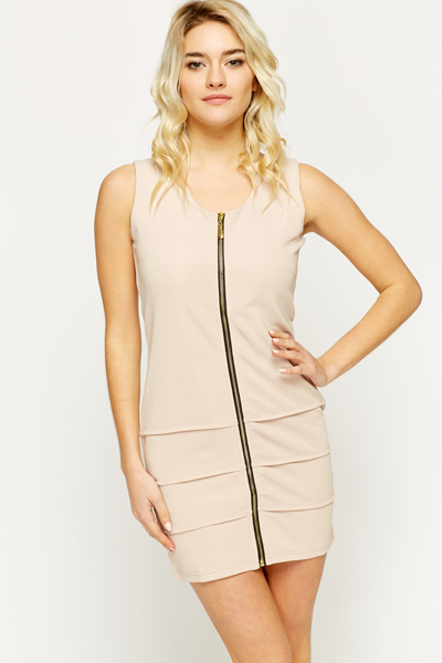 Textured Zip Front Dress