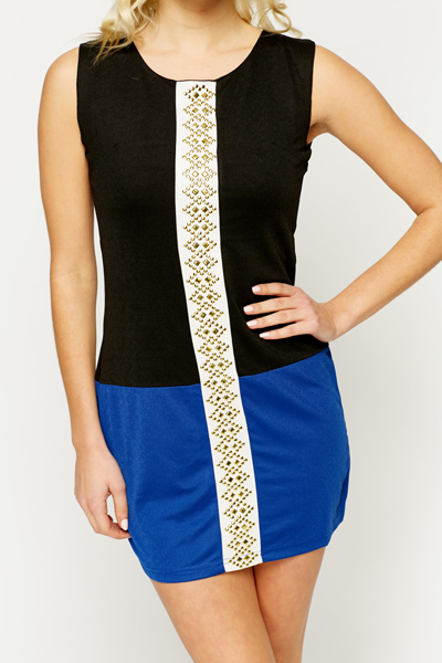 Studded Colour Block Dress