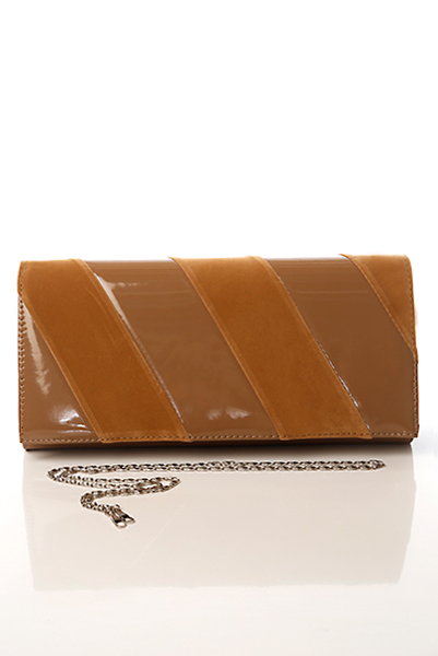 Diagonal Patent PVC & Velour Stripes Clutch