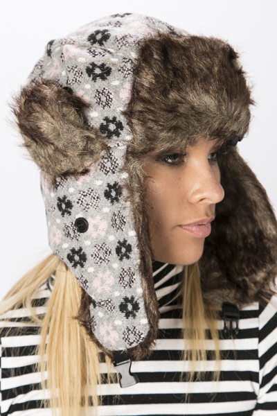 Faux Fur Trim Floral Ski Hat