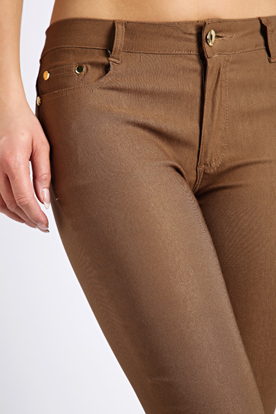Cotton Blend Zip Hem Trousers