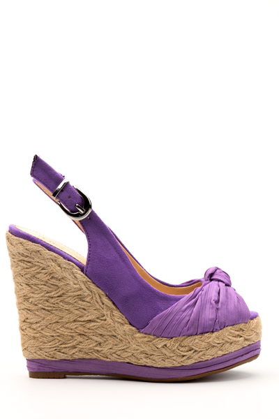 Draped Bow Slingback Wedge Shoes