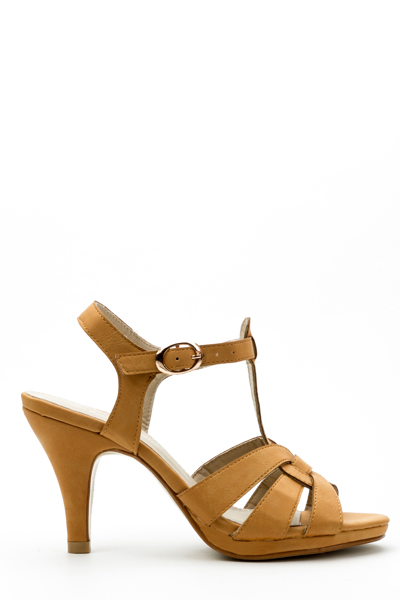 Mid Heel Ankle Strap Sandals