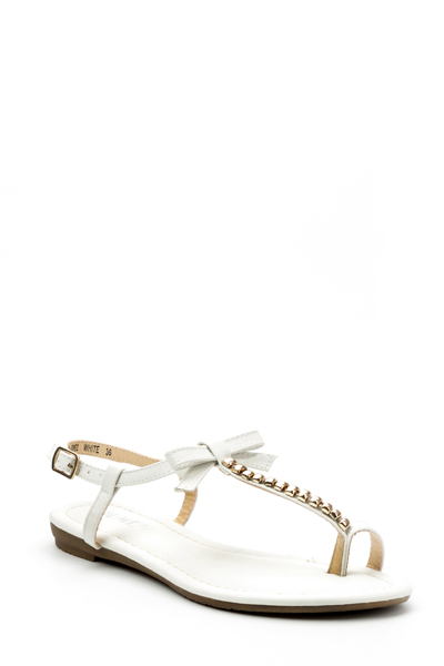 Beaded Bow T-Bar Flat Sandals