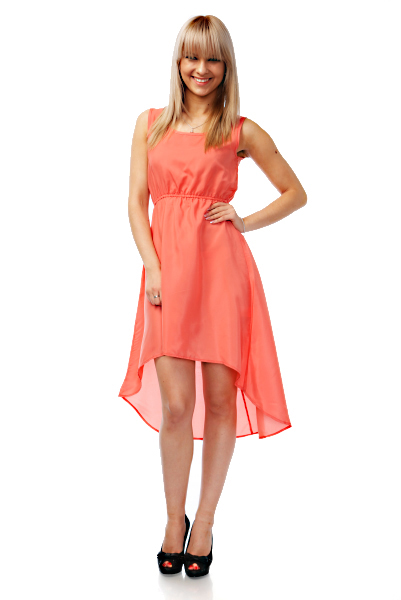 Dipped Back Hem Satin Dress