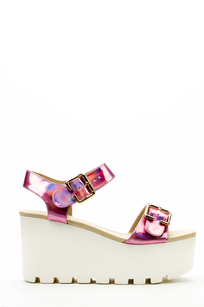 Twin Buckle Strap Holographic Platform Sandals