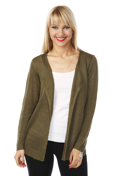 Open Front Fine Knit Cardigan