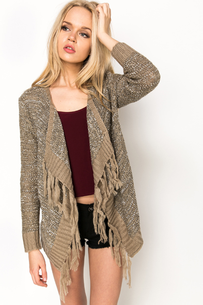 Tassel Trim Metallic Cardigan