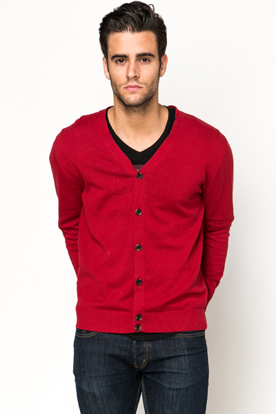 Contrast Elbow Patch Cardigan