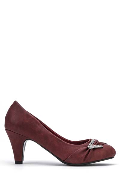 Diamante Trim Draped Toe Court Shoes