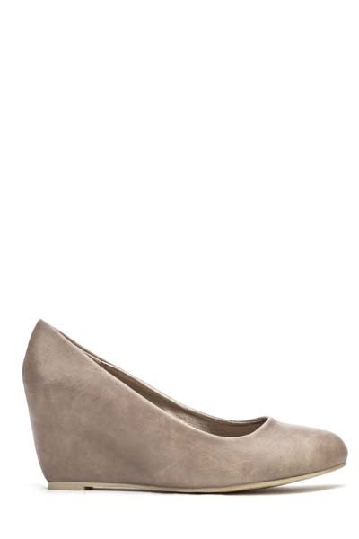 Faux Leather Wedge Pumps