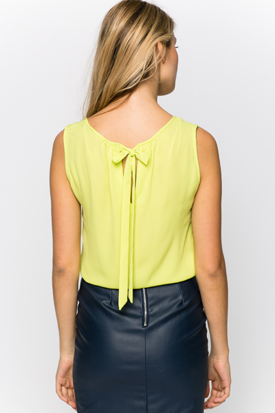 Tie Up Back Lime Blouse
