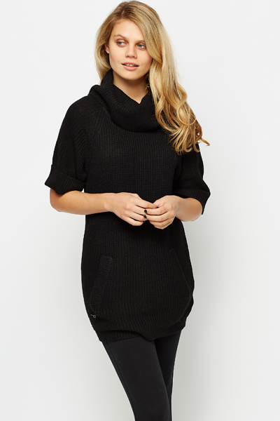 Short Sleeve Ribbed Jumper Dress