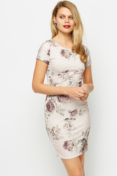 Fleur Peach Bodycon Dress