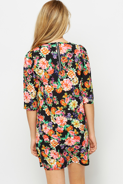 Fleur Black Shift Dress