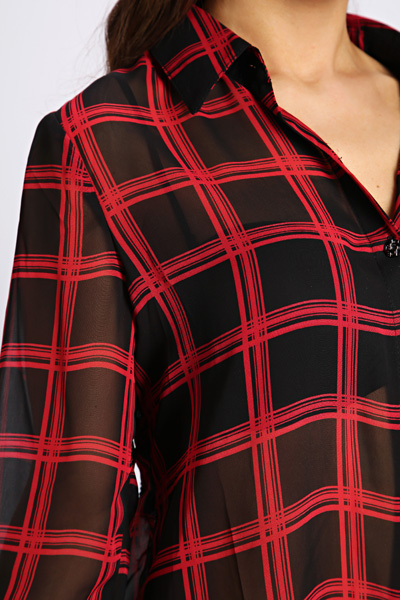 Cut Out Back Check Blouse