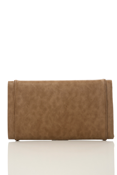 Large Layered Faux Leather Clutch