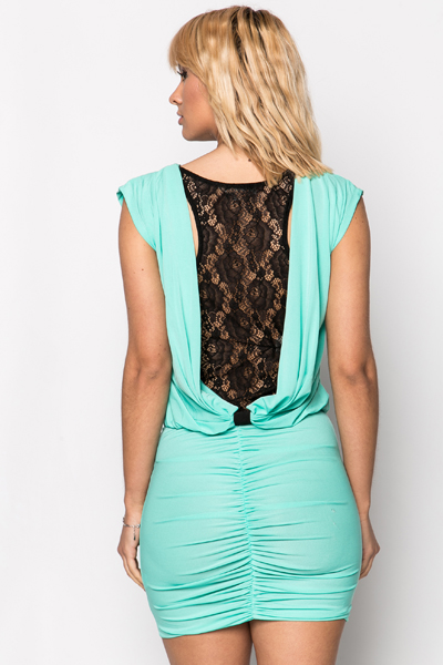 Lace Back Insert Ruched Dress