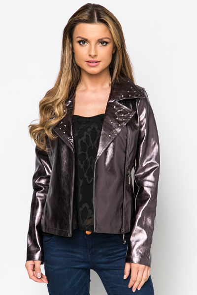 PU Studded Biker Jacket