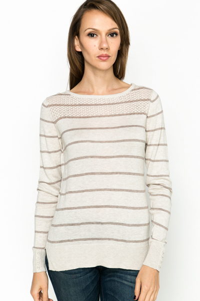 Mix Knit Stripe Pullover