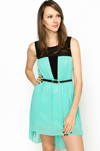 Dipped Hem Chiffon Dress