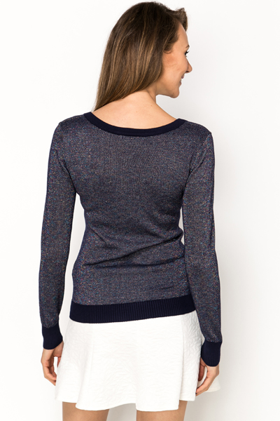 Button Detail Metallic Pullover