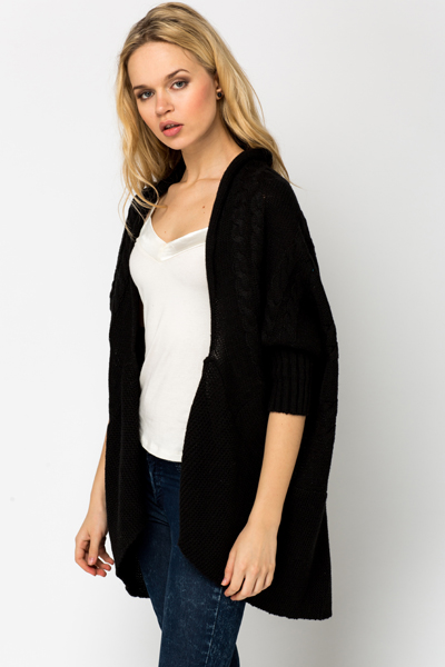 Cable Knit Trim Open Front Cardigan