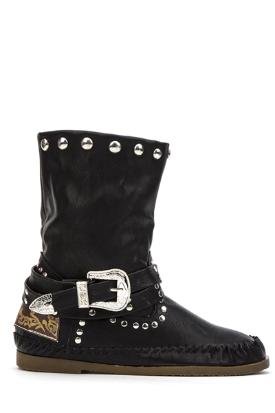 Metal Buckle Studded Boots