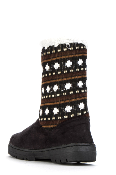 Contrast Knit Boots