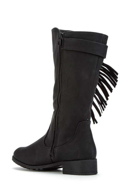 Fringed Faux Leather Boots