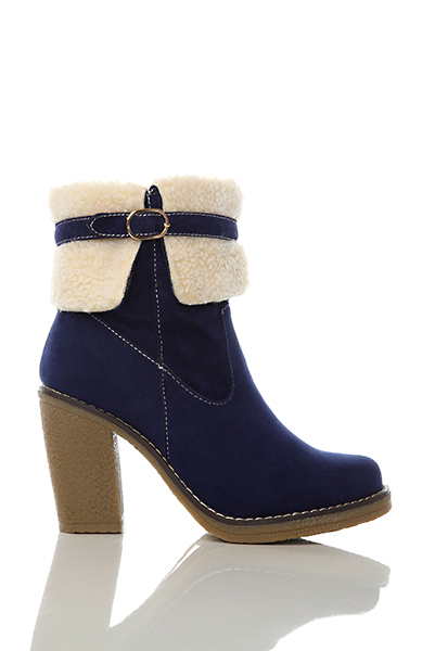 Buckle Faux Fur Top Boots