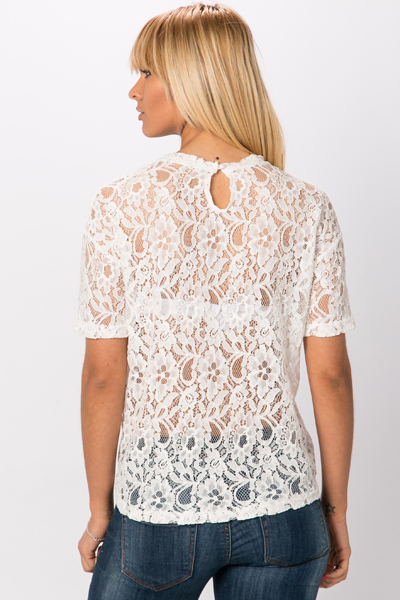 Contrast Lace Owl Top