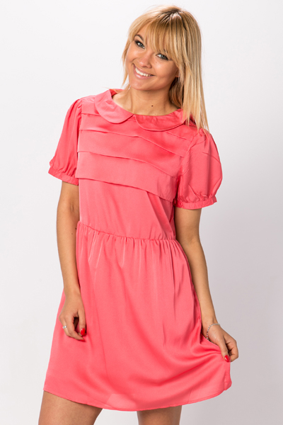 Peter Pan Collar Pleat Front Dress