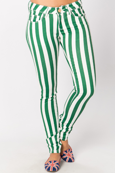 Golden Button Stripe Trousers