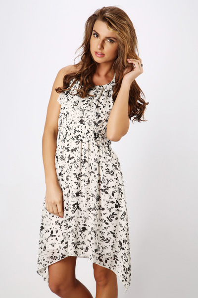 Frilled Chiffon Floral Dress
