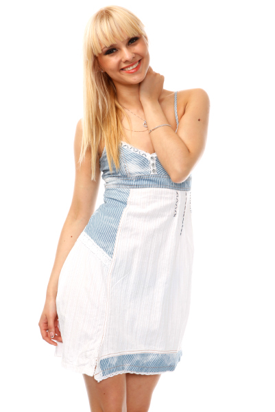Stitch Detailed Pinstripe Denim Dress
