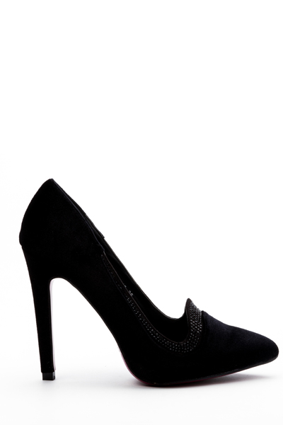 Encrusted Trim Velvet Heeled Shoes