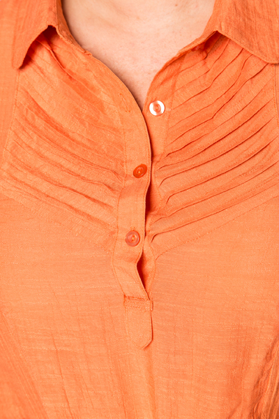 Pleat Neckline Linen Blouse