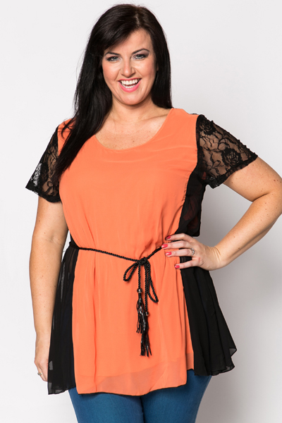 Lace Sleeve Tie-Up Tunic