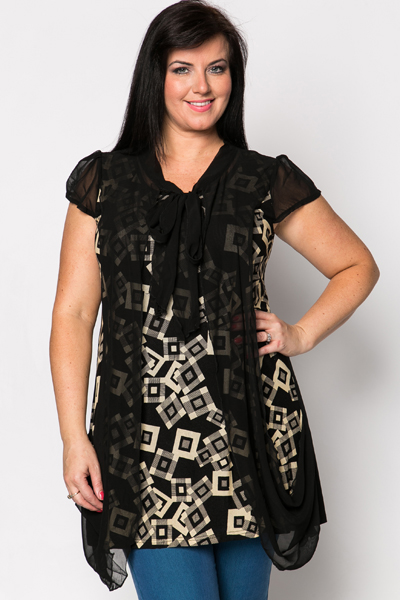 Chiffon Tie-Up Geo Tunic