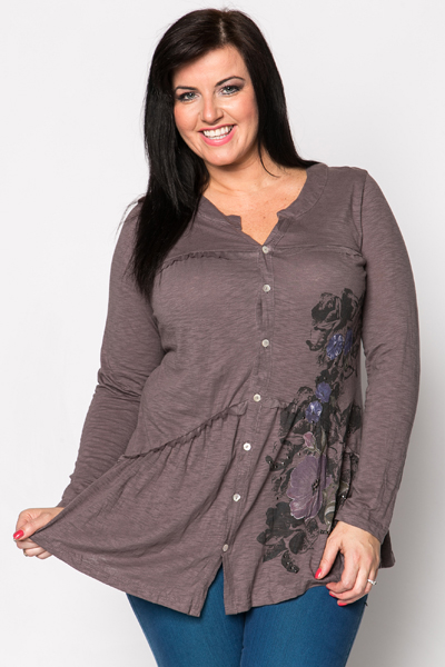 Button Front Frilled Tunic