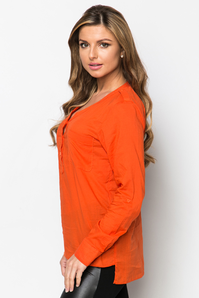 Button Neck Tunic Top