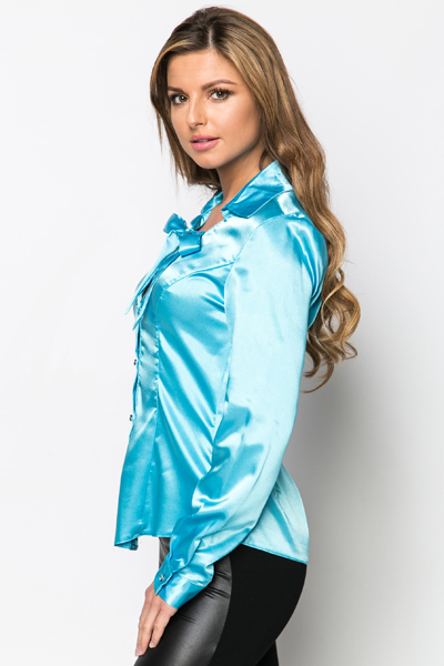 Tie-Up Neck Satin Blouse