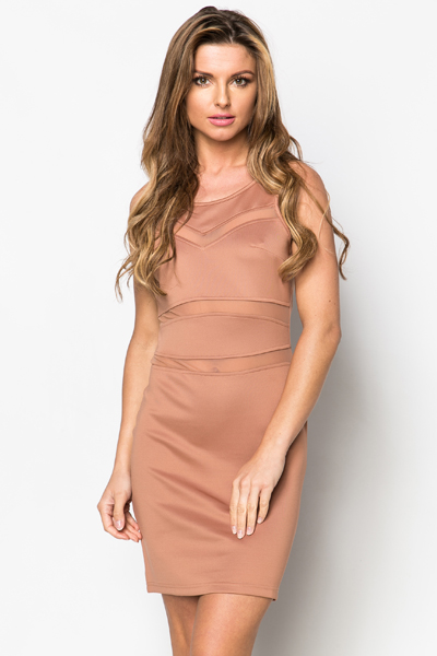 Mesh Insert Stripe Bodycon Dress