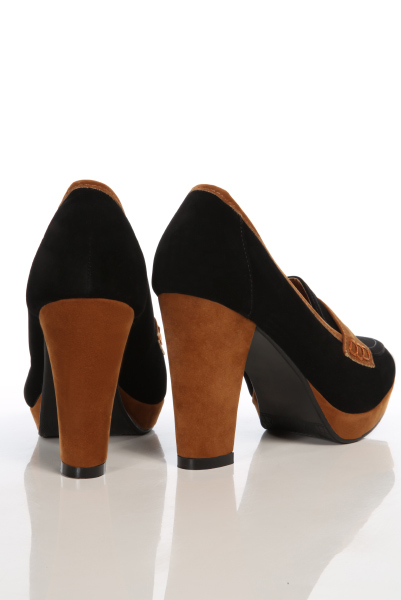Heeled Two Tone Penny Loafers
